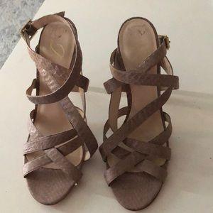 Like New Snakeskin Delman Sandals 9.5 Fit like 9